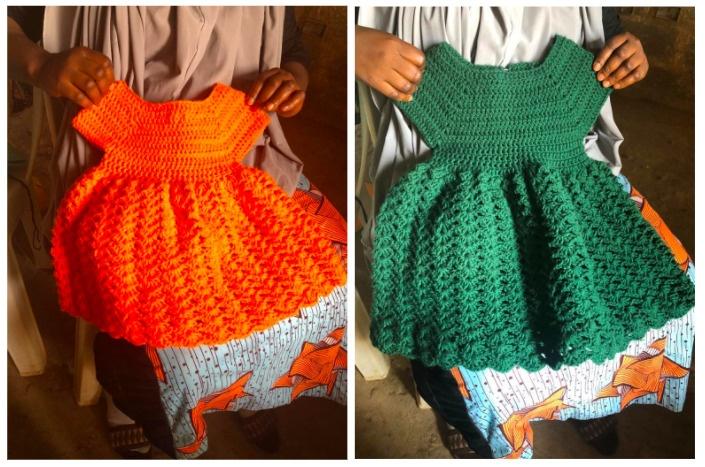 Handmade clothing made by IDP women