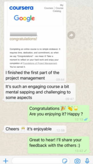 Feedback from a trainee onboarded by Bethan (UK)
